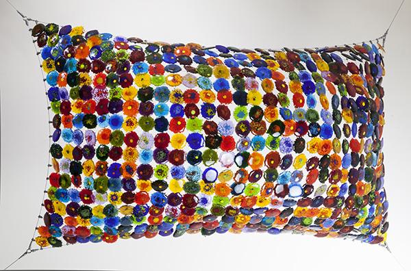 Galaxia Tejida I|51 x 31.4 x0.28 inches|Woven Bullseye fused glass and steel