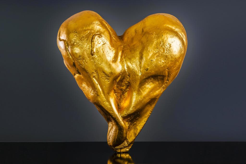 Heart of Gold/Gold Plate Bronze Sculpture