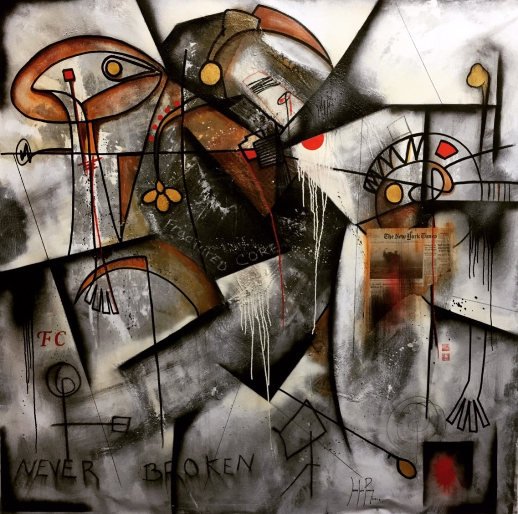 Fractured-Core. 72 x 72 inches. Mixed Media on Canvas