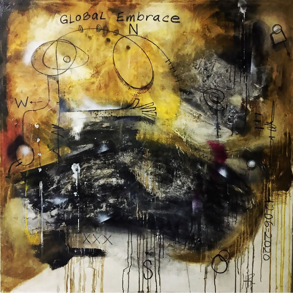 Global Embrace 67 x 67 inches. Mixed Media on Canvas